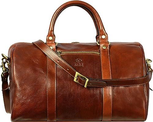 Full Grain Leather Small Duffel Bag Gym Bag Weekender Overnight Unisex Brown
