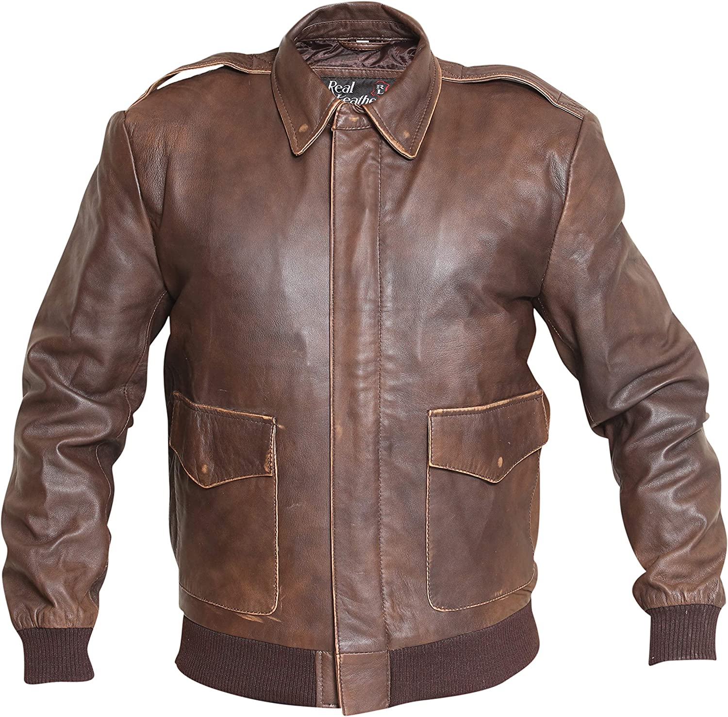 60s 70s Men's Jackets & Sweaters Aviator A2 Distressed Brown Real Leather Bomber Jacket $159.95 AT vintagedancer.com
