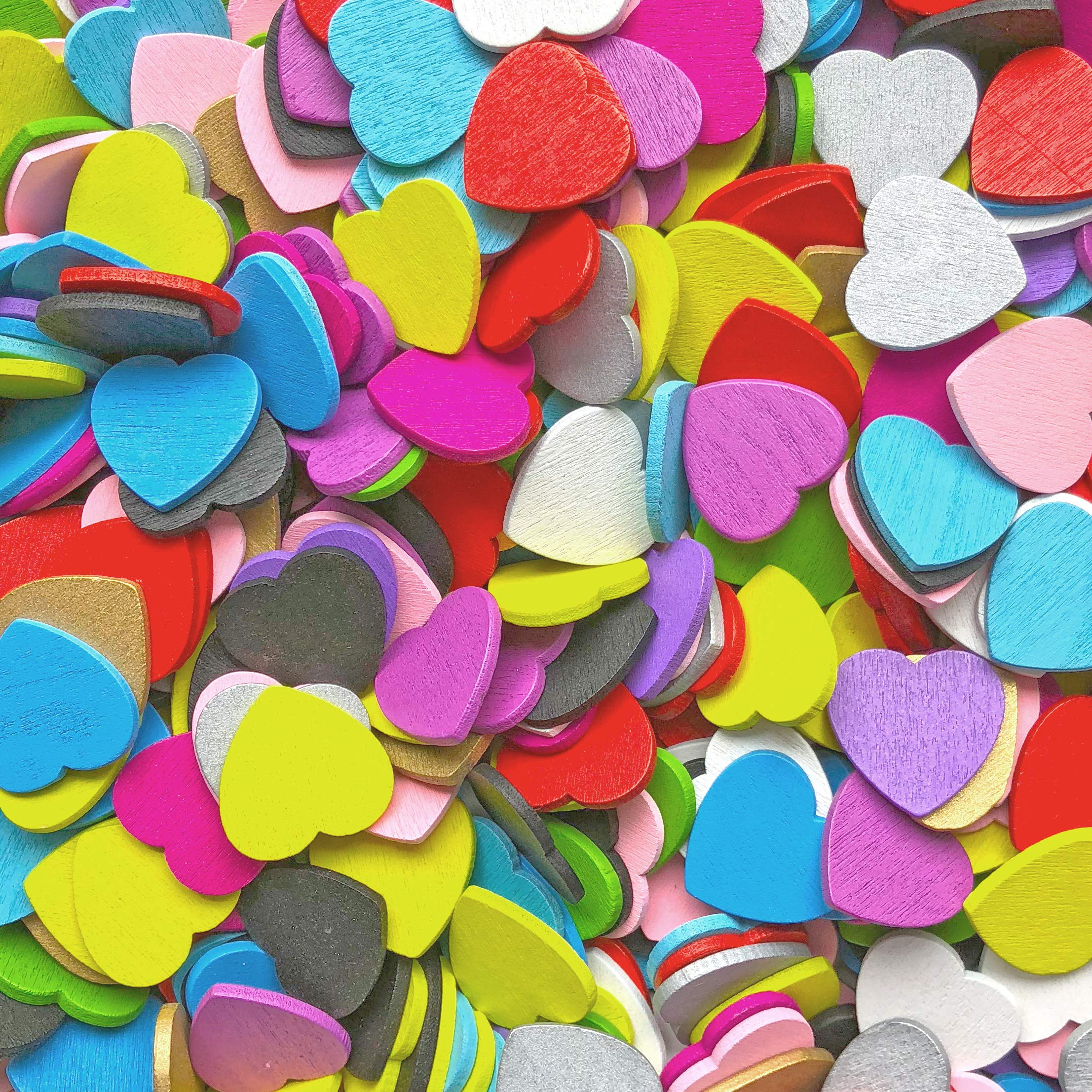 Wedding Touches Multi Coloured 18mm Love Hearts Wooden Shabby Chic Craft Scrapbook Vintage Hearts (250)