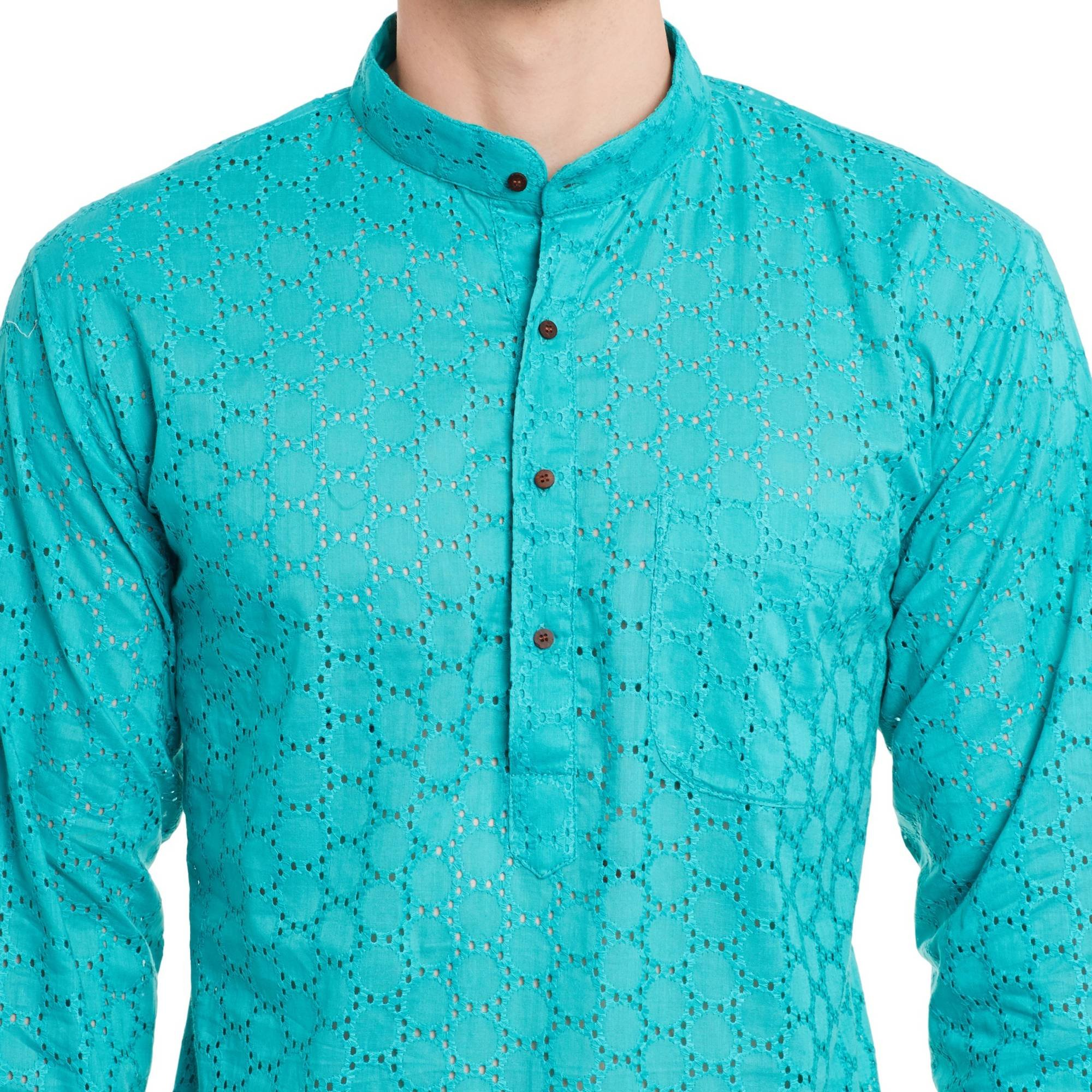 Mens Embroidered Cutwork Cotton Kurta With Churidar Pajama Trousers Machine Embroidery,Turquoise Chest Size: 34 Inch by ShalinIndia (Image #5)