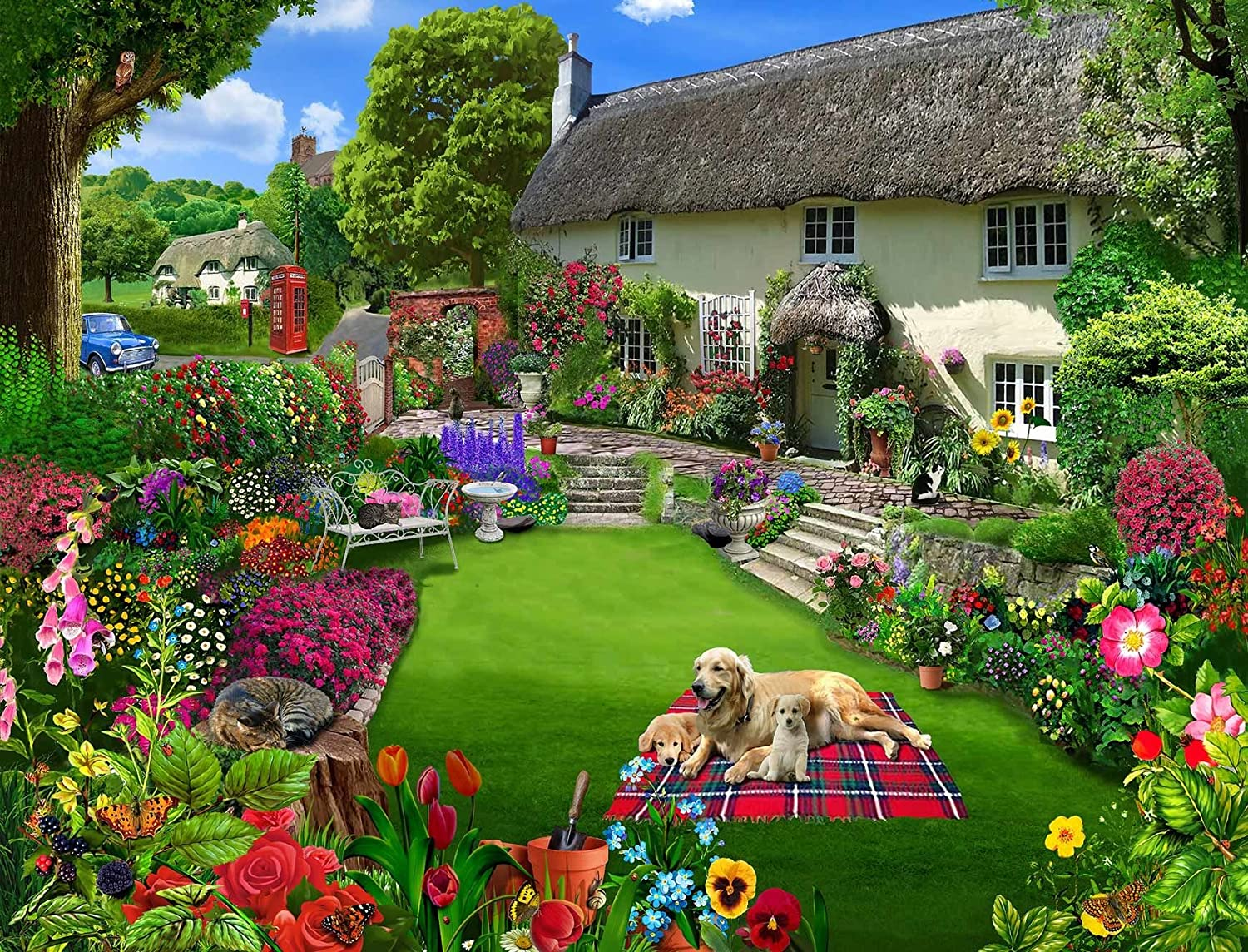 Dogs in a Cottage Garden 1000 Piece Jigsaw Puzzles