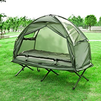 Haotian Compact Collapsable Portable C&ing Cot Air MattressPop-Up Tent Tent  sc 1 st  Amazon.com & Amazon.com : Haotian Compact Collapsable Portable Camping Cot Air ...