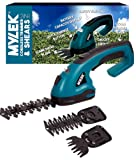 MYLEK® 2-in-1 Li-ion Cordless Hedge Trimmer & Grass Shears with 2 Blades, Quick Change Button, Safety Switch & Battery Capacity Display