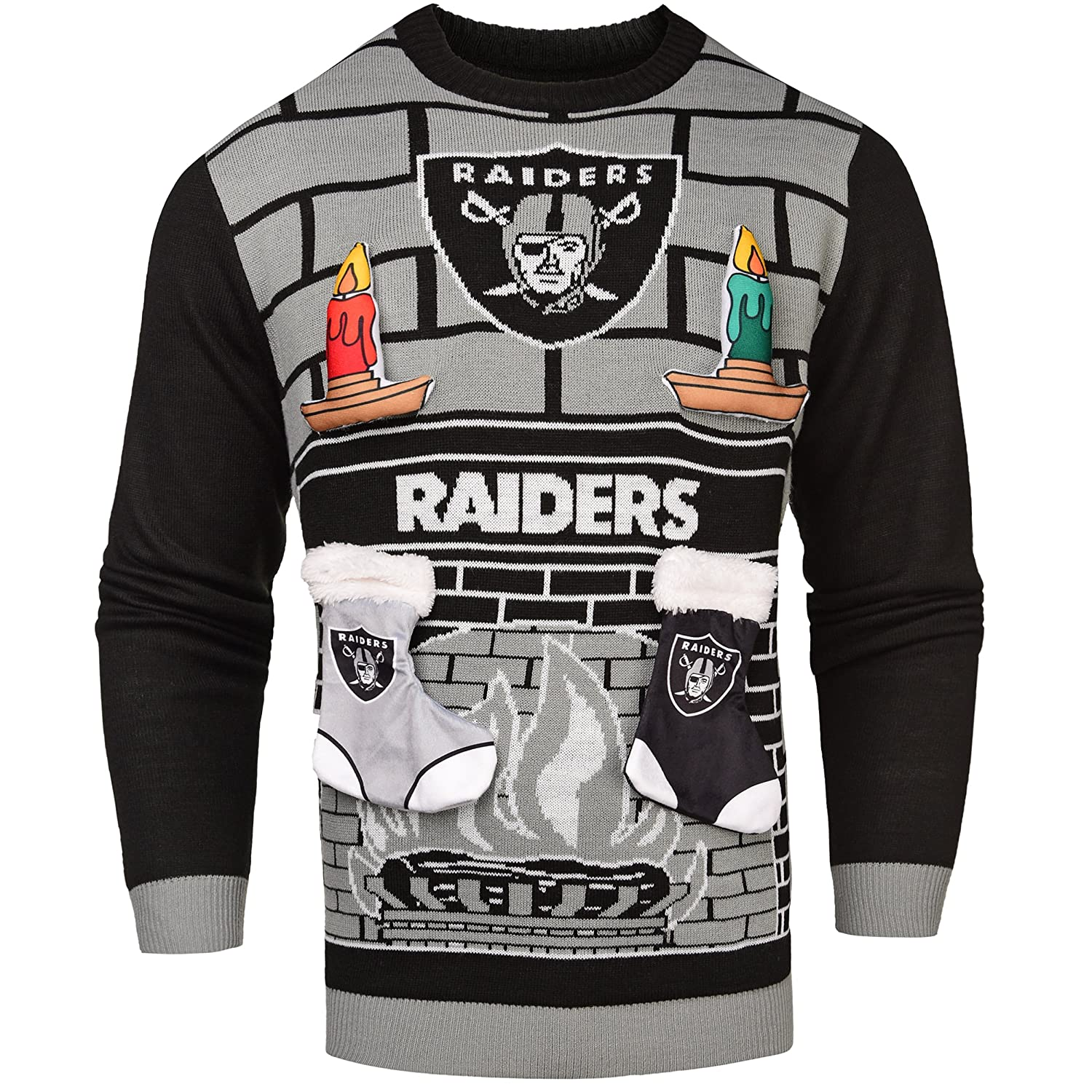 Amazon.com : Oakland Raiders Ugly 3D Sweater - Mens Small : Sports ...