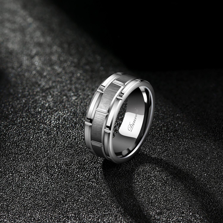 Denvosi Men Wedding Band Tungsten Ring 8MM Brick Pattern Matte Brushed Silver Surface Engagement Anniversary Ring Comfort Fit Size 10.5 by Denvosi (Image #3)