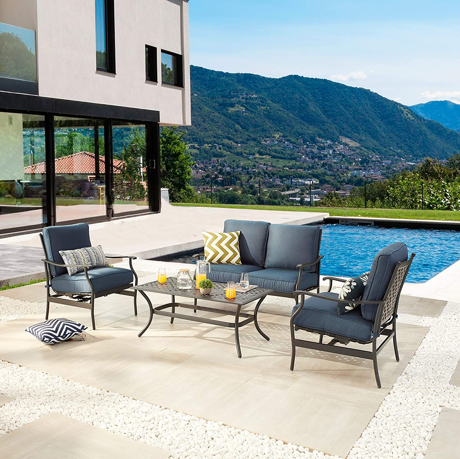 LOKATSE HOME 4 Piece Patio Conversation Set Outdoor Chat Dining Furniture Cushioned Metal Loveseat 2 Chairs and a Coffee Table, Blue