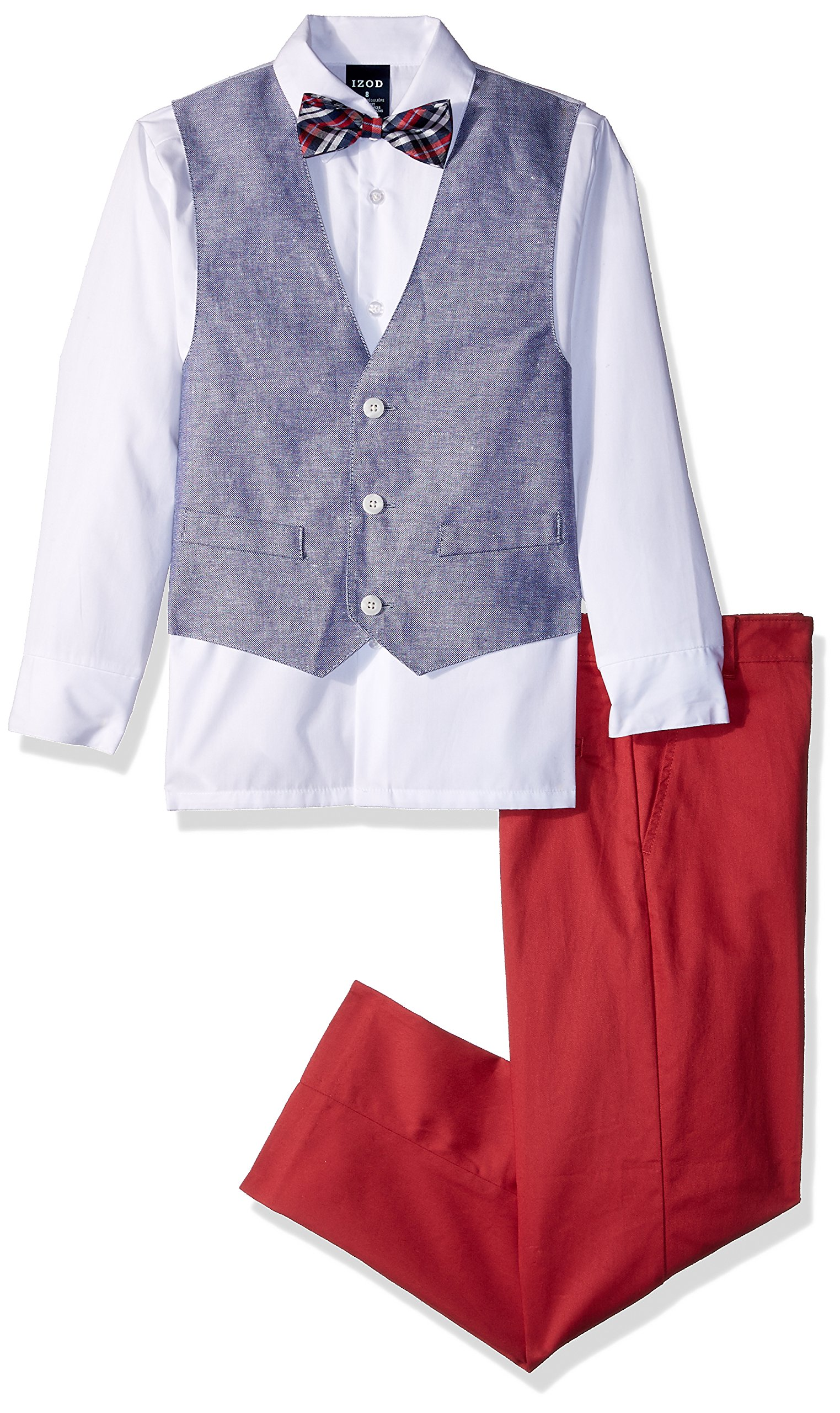 Izod boys 4-Piece Vest Set with Dress Shirt, Bow Tie, Pants, and Vest, Bubble Gum, 8