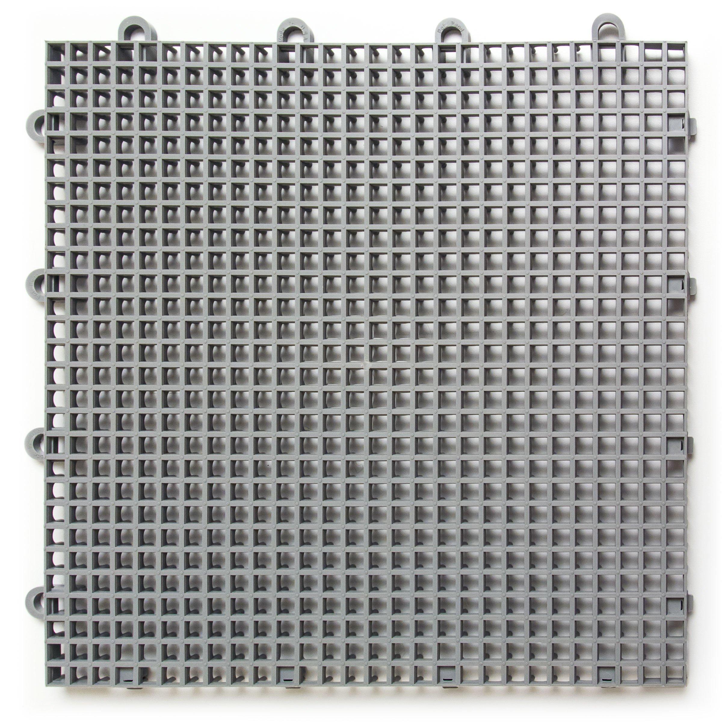 DuraGrid ST24GRAY Comfort Tile Interlocking Modular Multi-Use Safety Floor Matting (24 Pack), Gray, Piece by DuraGrid® (Image #1)
