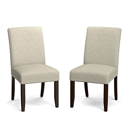 Unique Portfolio Madelyn Barley Tan Linen Upholstered Armless Dining Chairs  (Set Of 2) In