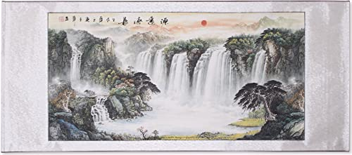 Chinese Traditional Waterfall Landscape Scrolled Painting, Feng Shui Painting for Office Living Room Decoration Attract Wealth and Good Luck,Ready to Hang 85 x 30