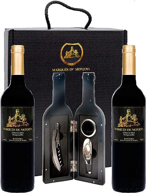 Caja de Vino Tinto - Pack de 2 Botellas con Set con sacacorchos servidor con tapón y