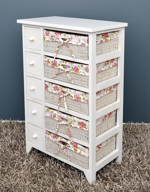 ts-ideen Commode Maison de campagne Armoire /Étag/ère Blanc 5 tiroirs et paniers Rose /à fleurs