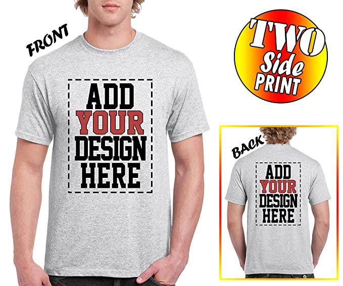 Amazon Com Custom 2 Sided T Shirts Design Your Own Shirt Front