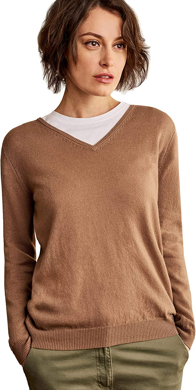 WoolOvers Ladies Cashmere and Merino V Neck Knitted Sweater Dark Camel, XS