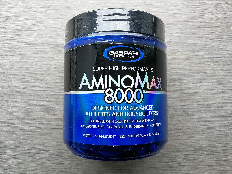 Gaspari Nutrition Amino Max 8000 Paquete de 1 x 325 Tabletas - BCAA - Monohidrato de Creatina - Taurina - Glutamina - Caseína Micelar