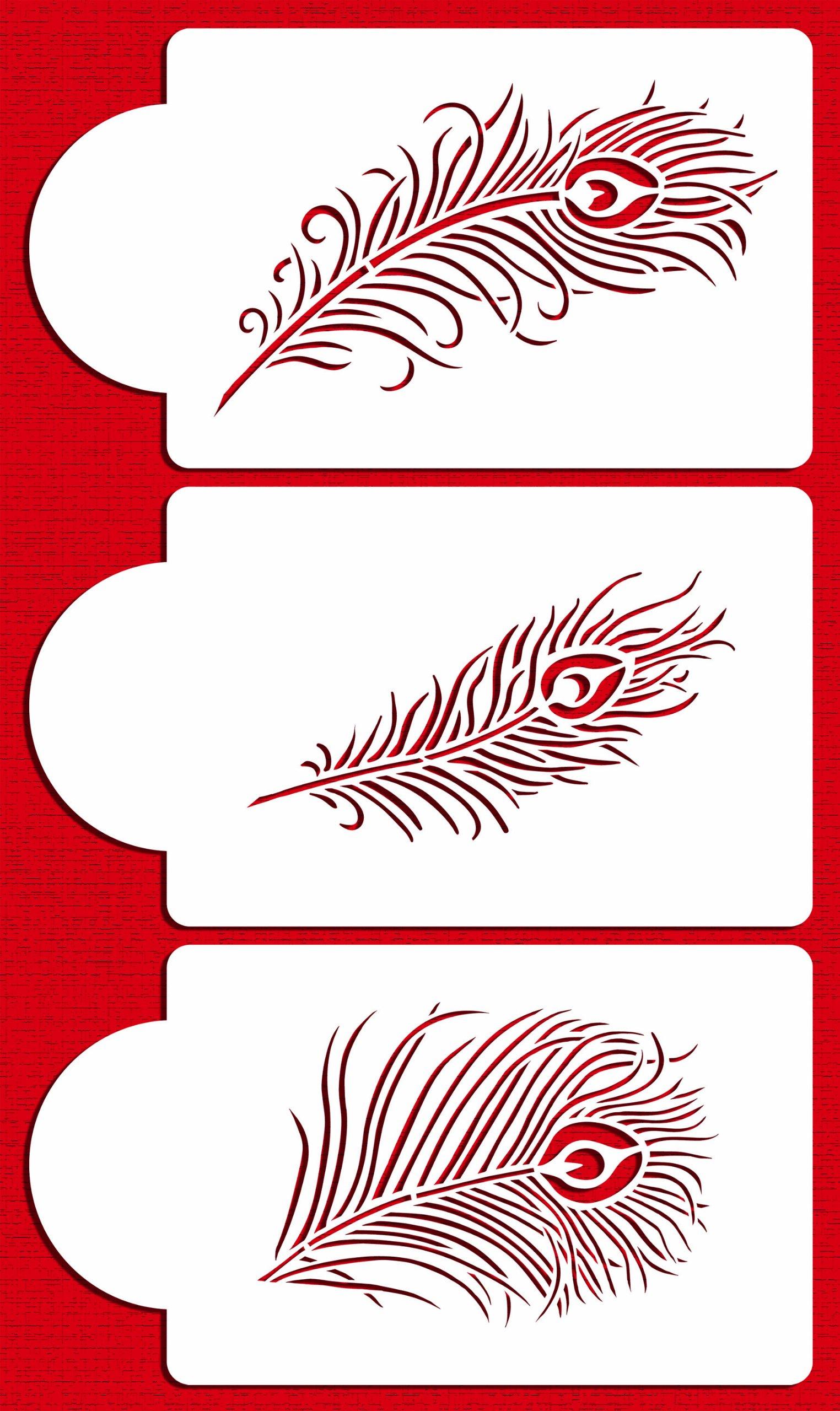 Designer Stencils C723 Peacock Feather Cake Stencil Set, Beige/semi-transparent