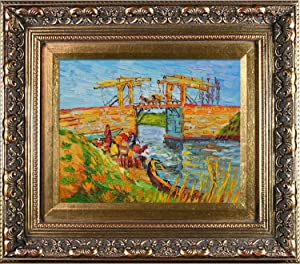 overstockArt Van Gogh Langlois Bridge at Arles Artwork with Women Washing in Baroque Antiqued Gold Frame