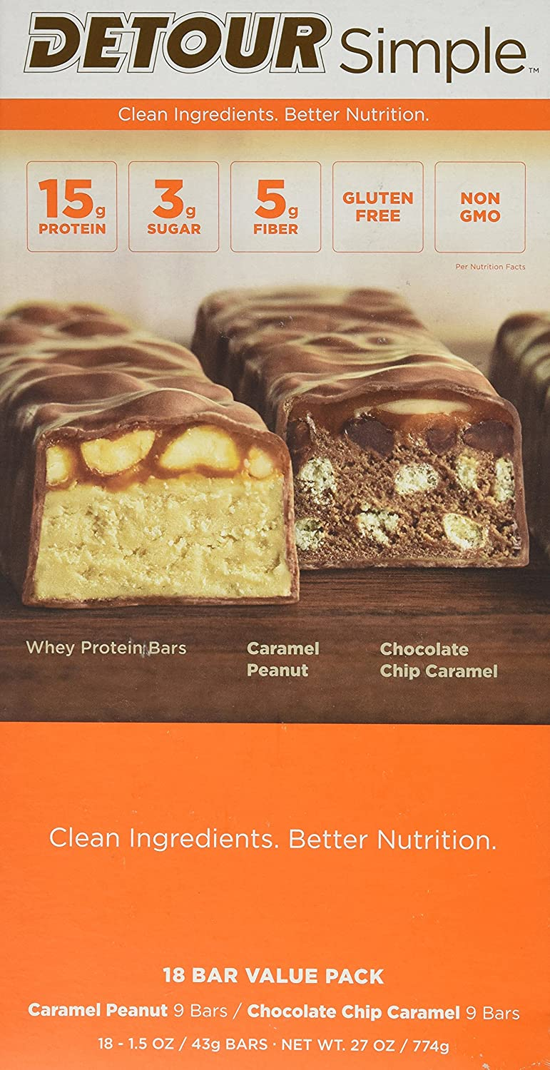 Detour Simple Caramel Peanut and Chocolate Chip Caramel Nutrition Bars, 1 5  oz, 18 Bar