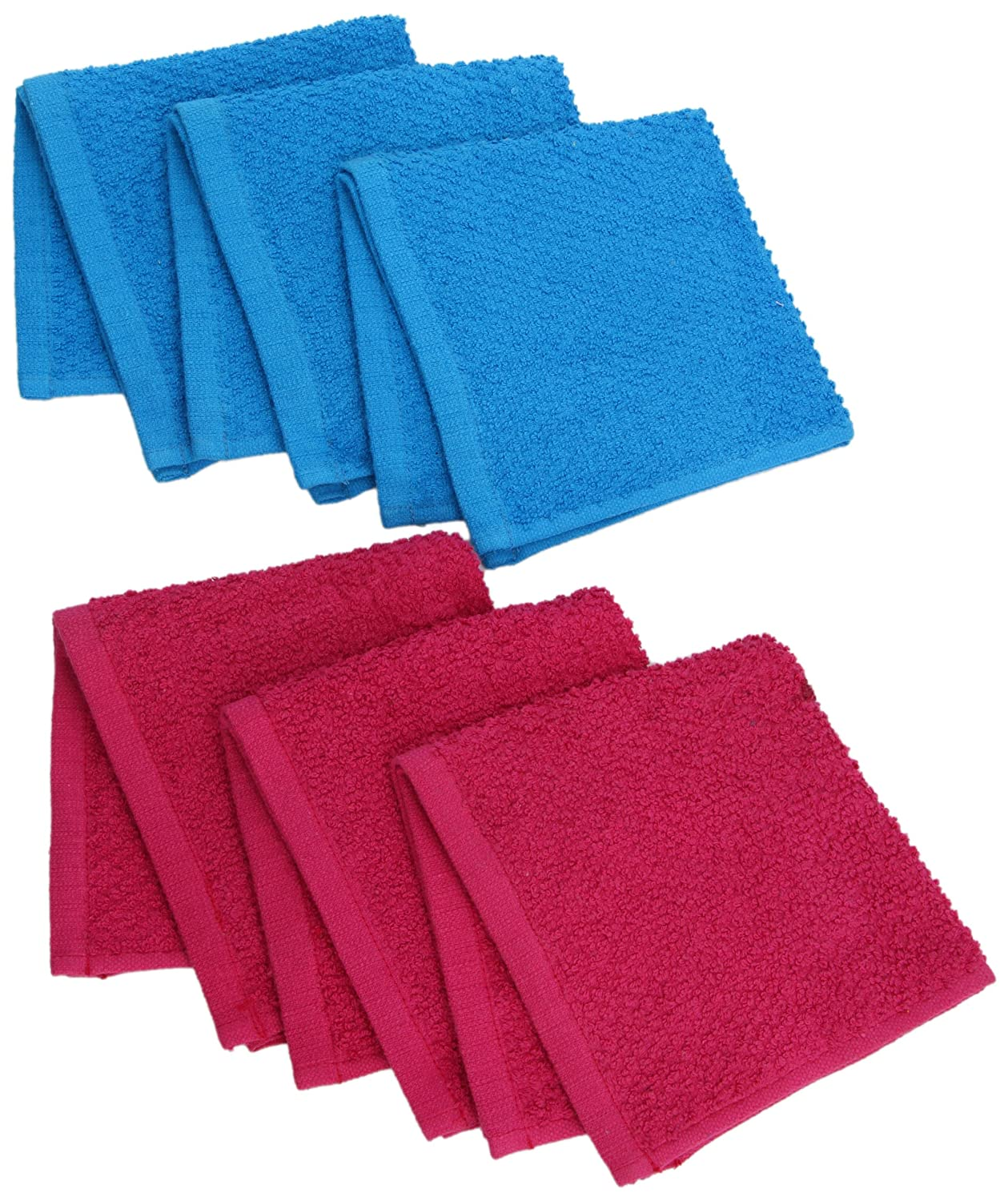 (Diva Pink/Blue Raspberry) - Northpoint 6-Piece Wash Cloth Pack, 30cm by 30cm B00CV15TP2 Diva Pink/Blue Raspberry