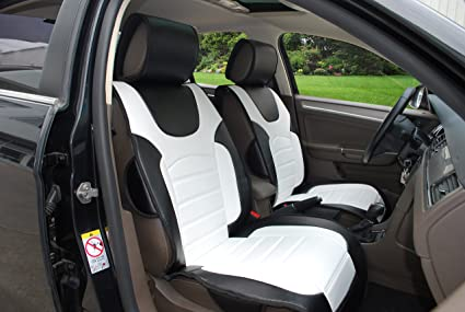 180206 Black White 2 Front Car Seat Cover Cushions Leather Like Vinyl Compatible