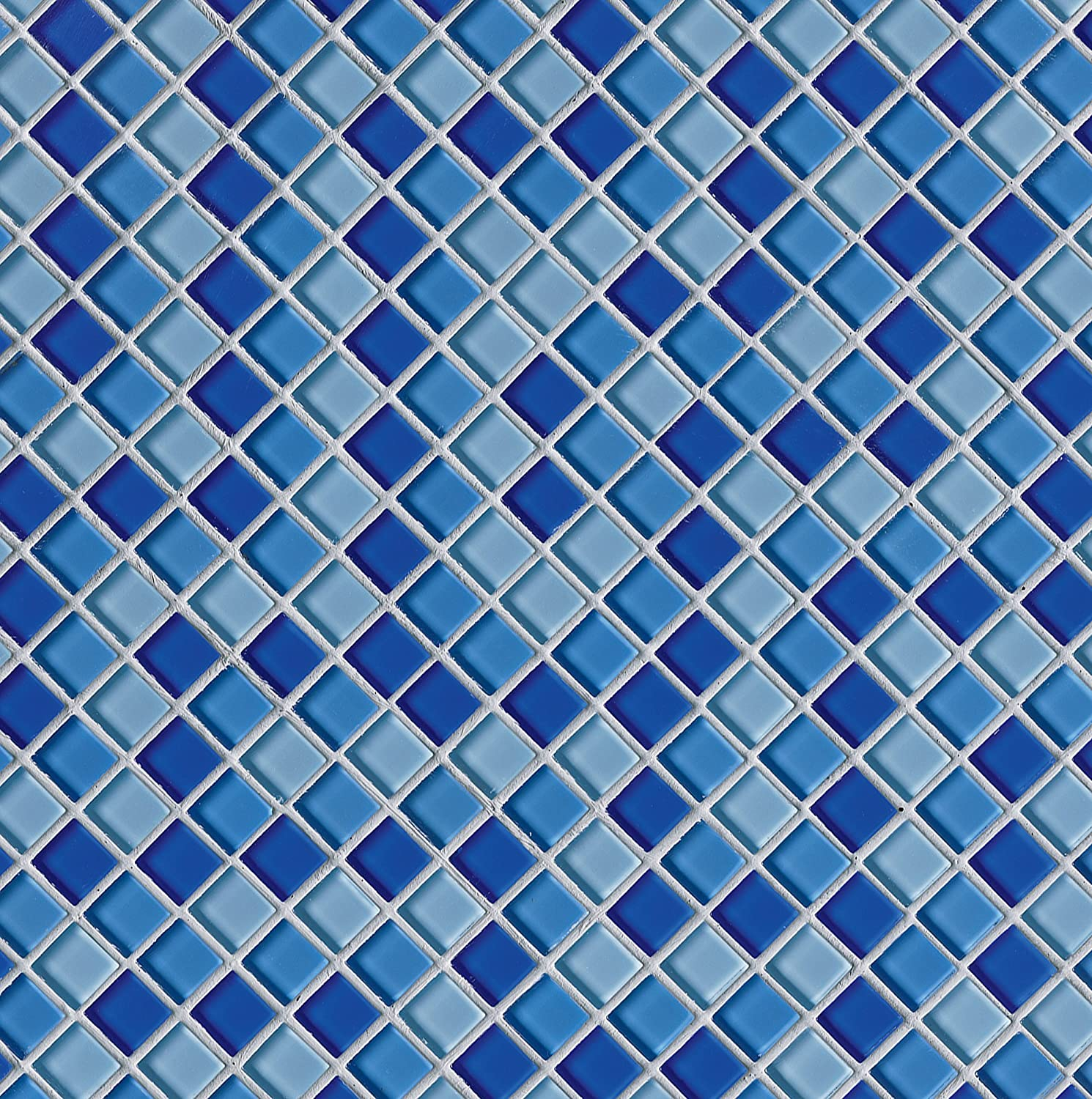 1 x 1 Crystallized Glass Glossy Mosaic in Blue Blend