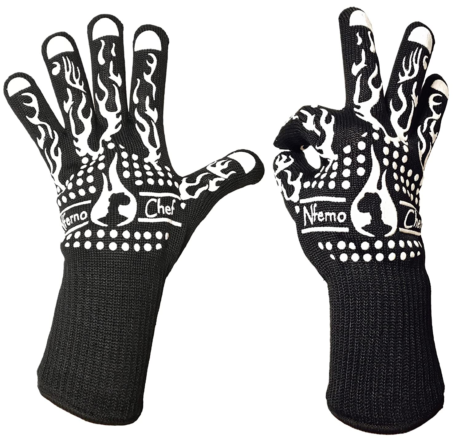 Heat Resistant Cooking Gloves for BBQ, Grilling or Baking by Nferno Chef | Made with Aramid Kevlar Fibers for Protection to 932°F, Coated with Protective Silicone & Lined with Cotton (White Pair)