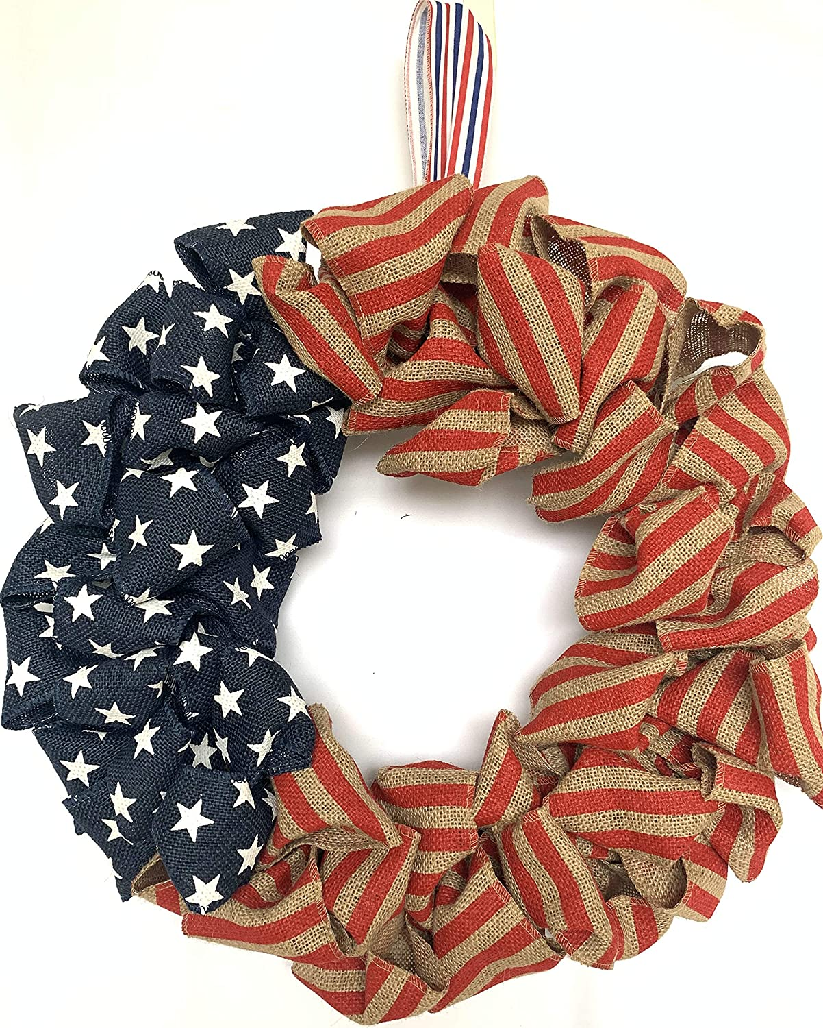 Huashen 4th July Independence Day Wreath, America Patriotic Flag Burlap Farmhouse Wreath on Grapevine for Front Door Wall Window (Burlap)