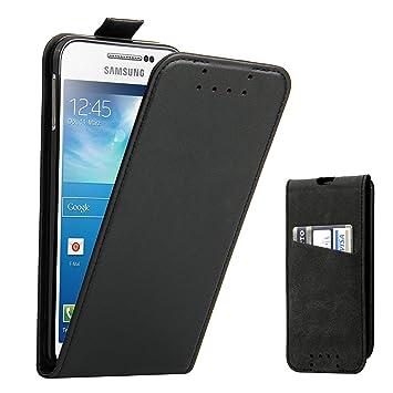 Funda Galaxy S4, Supad Funda para Samsung Galaxy S4 Flip Case para móvil en cuero sintético (Negro)