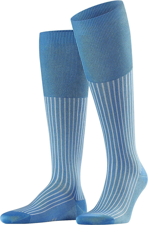 FALKE Mens Oxford Neon Knee-High Socks Cotton Blue 1 Pair