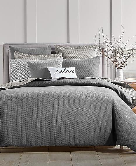 Amazon Com Charter Club Damask Designs Diamond Dot Cotton 300 Thread Count 3 Piece Full Queen Duvet Cover Set Grey Home Kitchen