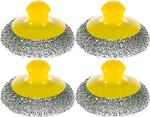 Stainless Steel Scouring Pad - Set of 4 - Steel Wool Scrubbers for Dishes - Handle Cleaning Sponges