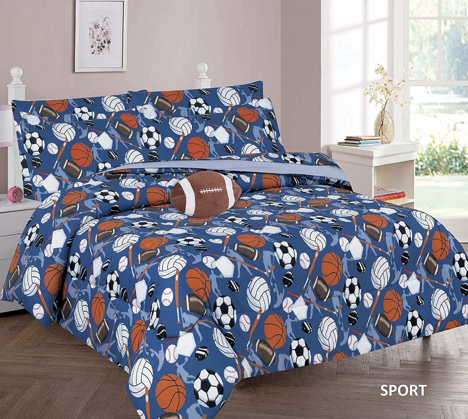 6 Piece Twin Size Kids Boys Teens Comforter Set Bed in Bag w/Sham, Sheet Set & Decorative Toy Pillow, Sports Balls Volleyball Print Blue Comforter Bedding Set w/Sheets, Twin 6pc Sports