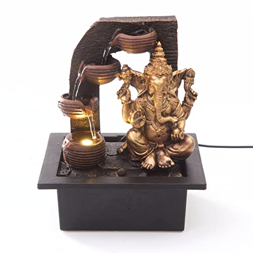 Ganesha with Water Cups Indoor Water Fountain with LED Light   Size 21*17.5*25 Cm   3 Pin UK Plug Included  