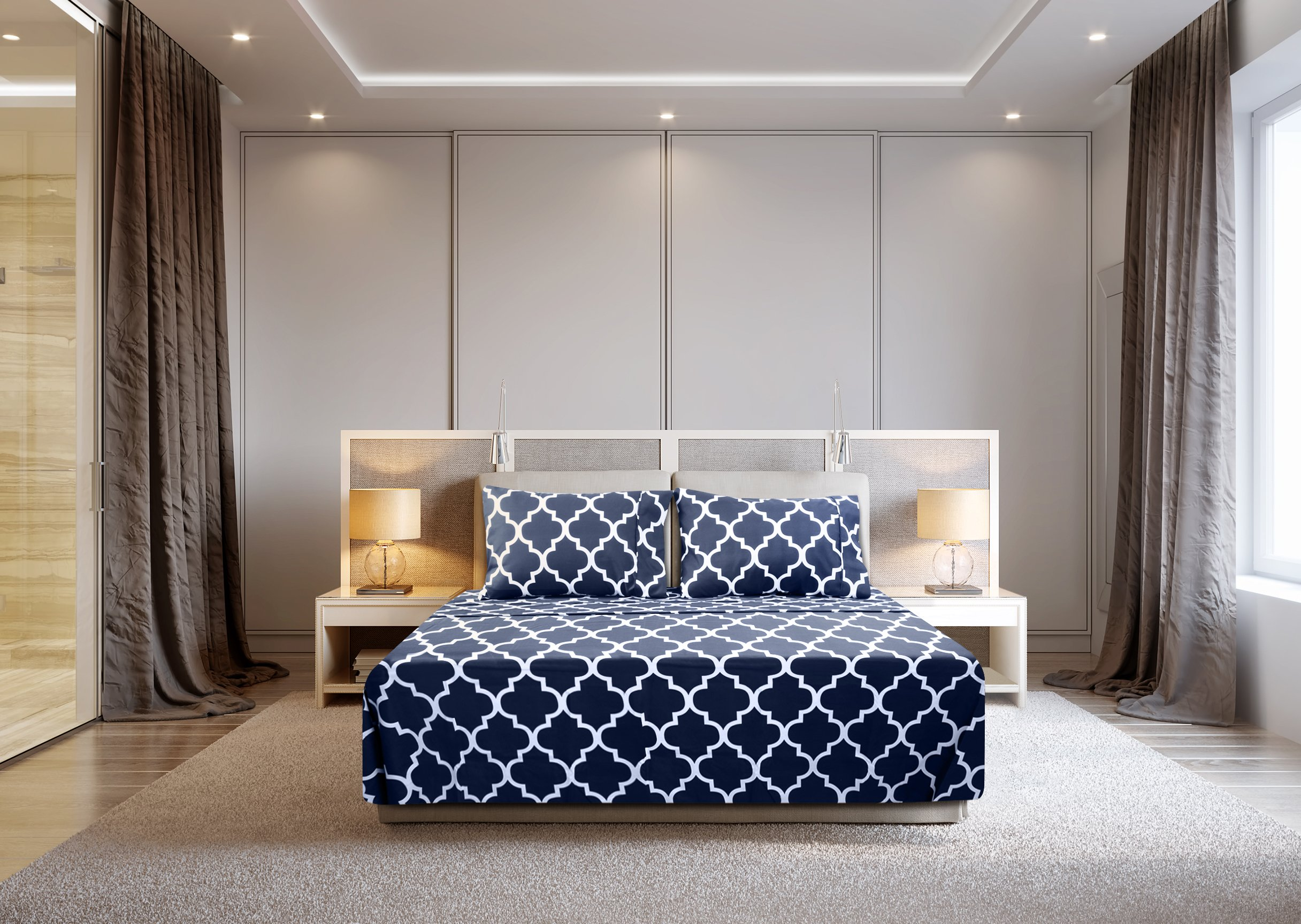Utopia Bedding 3 Piece Bed Sheets Set (Twin, Navy) - 1 Flat Sheet 1 Fitted Sheet and 1 Pillow Case - Hotel Quality Brushed Velvety Microfiber - Luxurious & Extremely Durable by Utopia Bedding (Image #2)