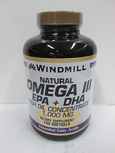 Windmill Omega 3 180 Softgels EPA and DHA Fish Oil Concentrate 1,000 Milligrams Windmill Vitamins Dietary Supplement Weight Loss Heart Health Essential Fatty Acids. Get the Daily Fatty Acids Your Body Needs Omega 3 Formula Supports Proper Cellular Flexibility and Cardiovascular Health. Lower Blood Pressure, Cholesterol, Immune System Booster, Natural Energy Supplement, Gluten Free Supplement.