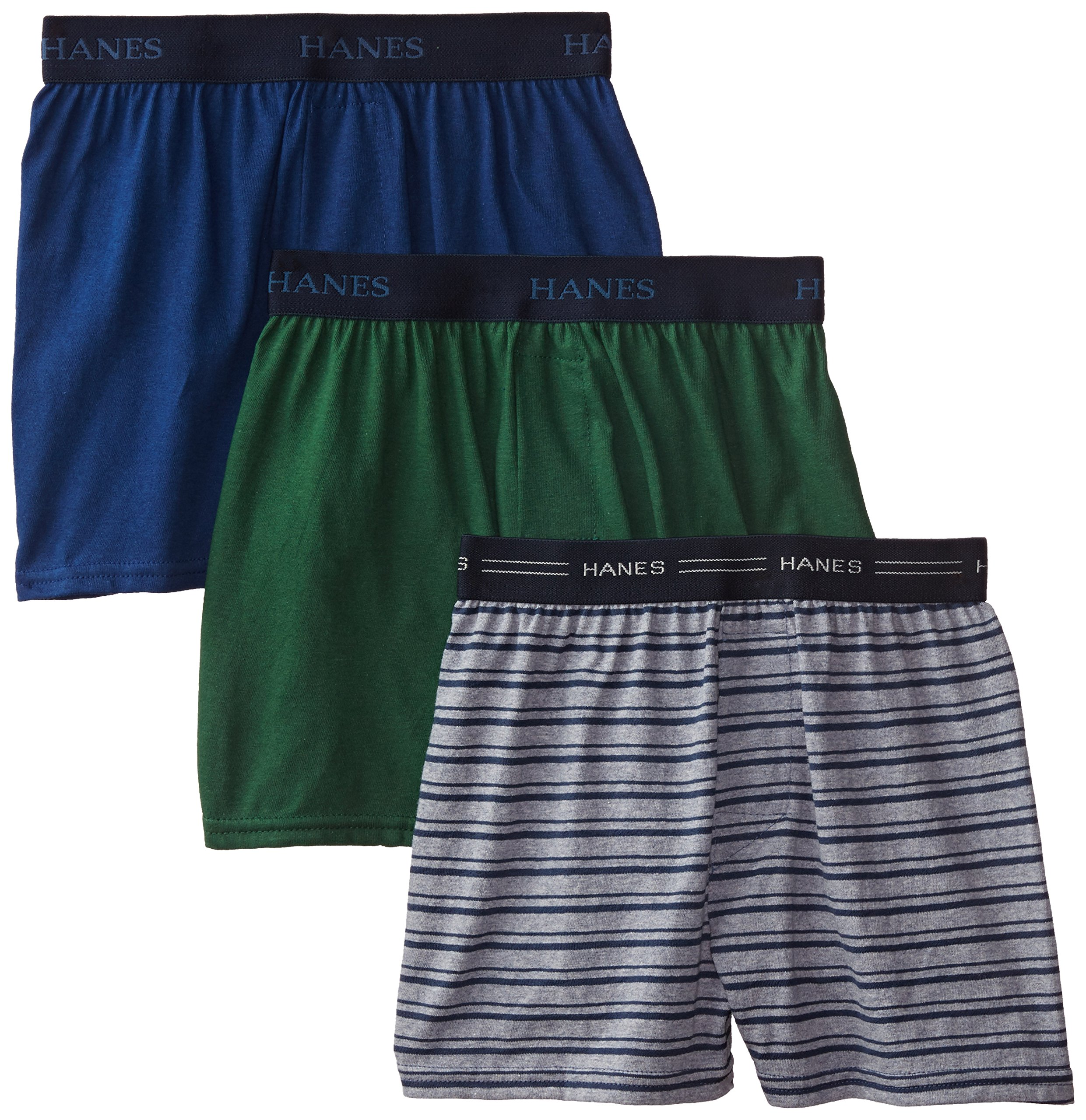 Hanes Boys' 3 Pack Ultimate Comfort Flex Solid Knit Boxer, Assorted, Small