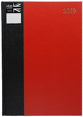 Letts 19-TC10 A4 2019 - Agenda de escritorio de negocios (dos páginas por día), color rojo y negro
