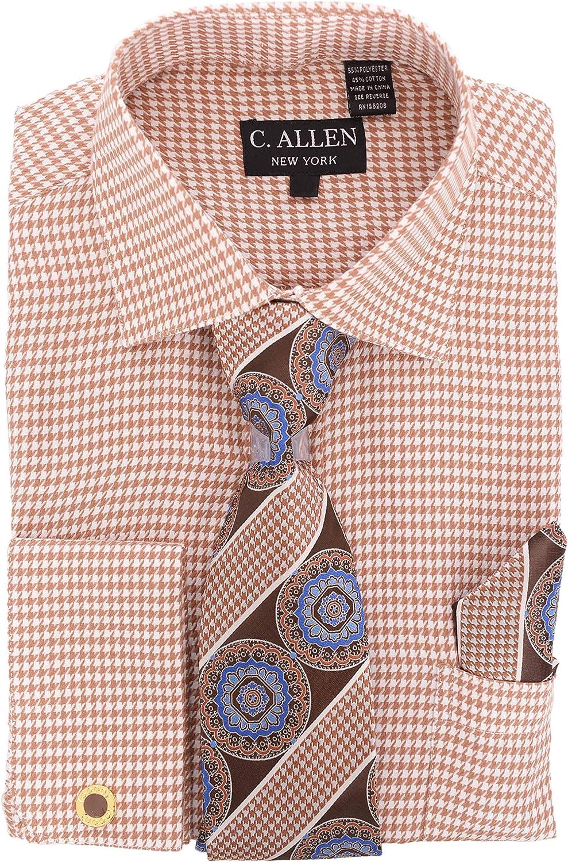 C Allen Brown Houndstooth Spread Collar French Cuff Cotton Dress Shirt Tie Hank-BROWN-20.5 6-7