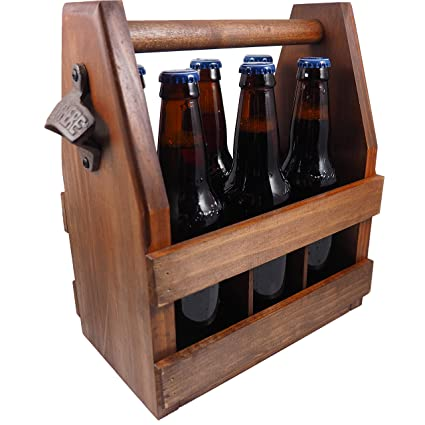 Amazoncom Handcrafted Wooden Beer Carrier Holder Tote Pine
