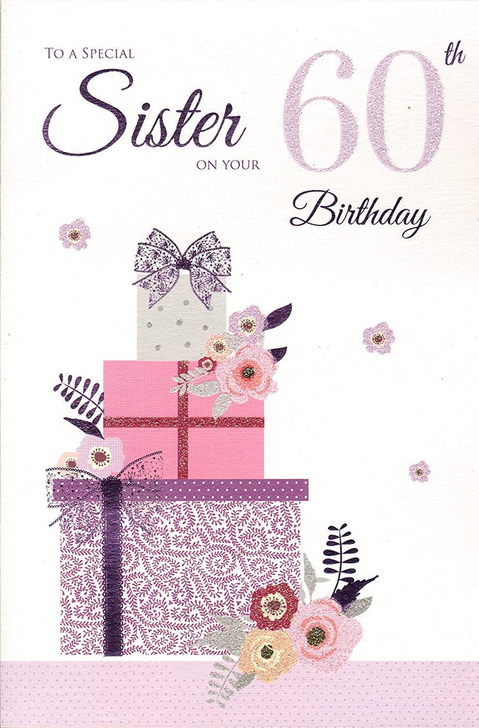 Sister 60th Birthday Birthday Card Amazoncouk Kitchen Home – Happy Birthday Card to My Sister