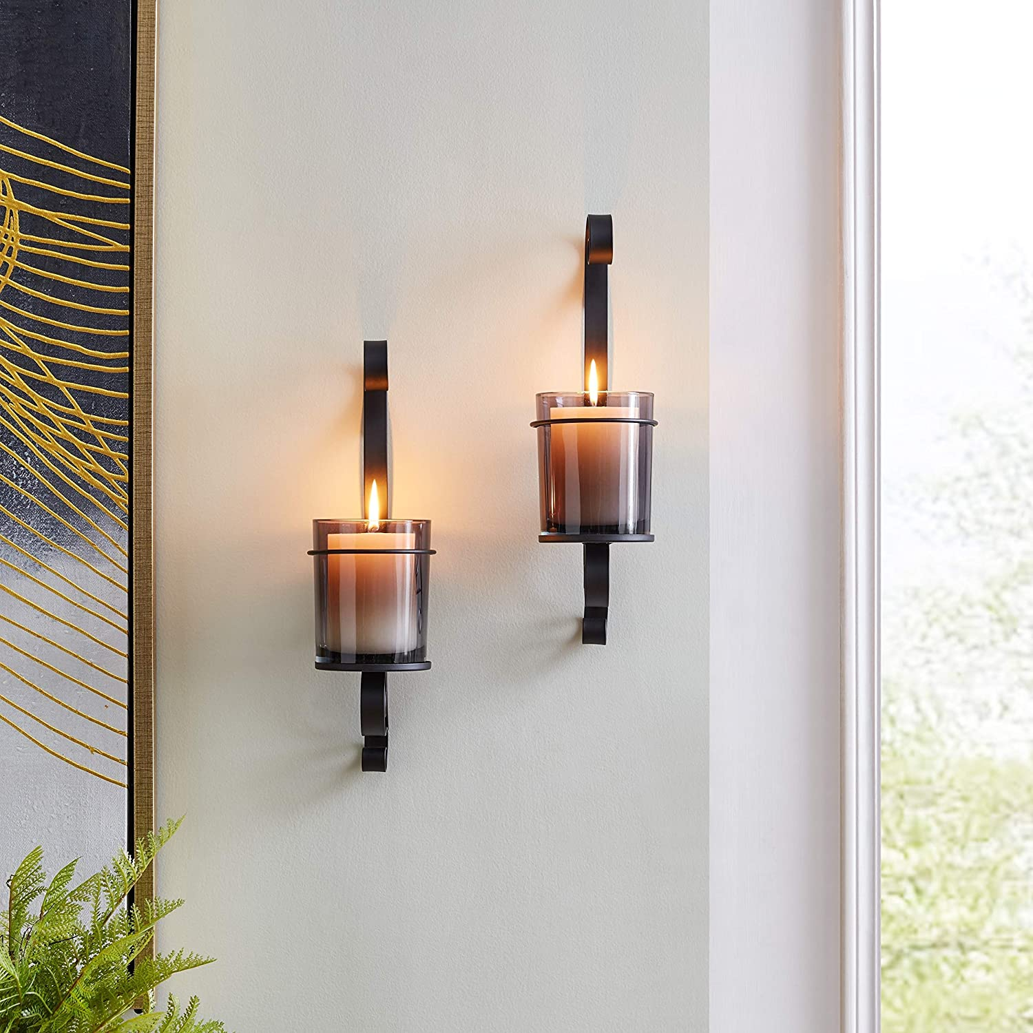 Vintage Black Wall Sconce Candle Holder Set 2 With Smoke Glass Hurricanes Modern Contemporary Metal Home Kitchen