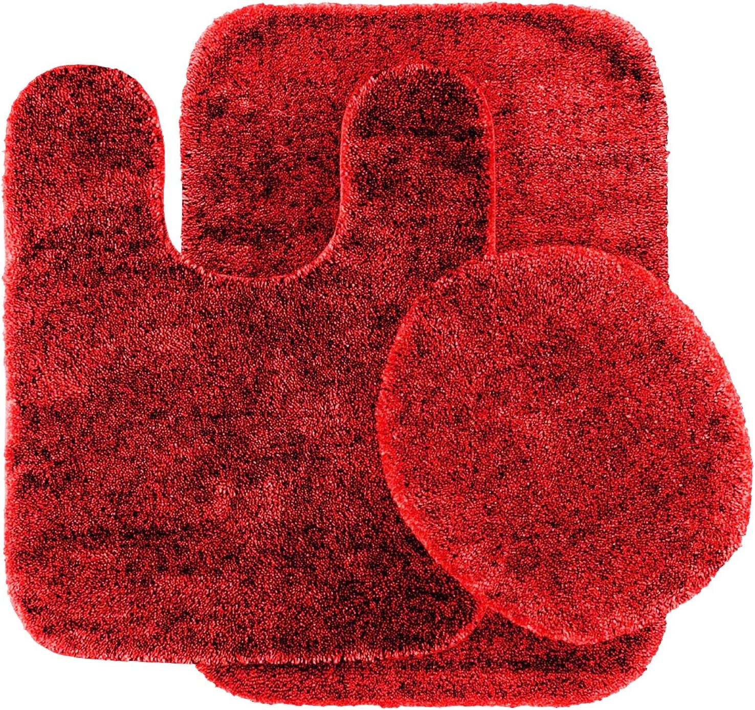 GorgeousHomeLinen 3-Piece Red #6 Bathroom Set Bath Mat, Contour, and Toilet Lid Cover, with Rubber Backing