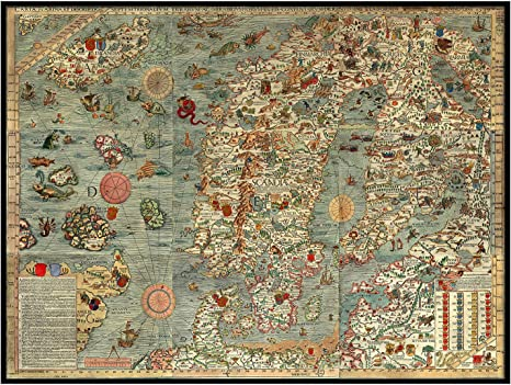 Sea Map Of A Scandinavia By Olaus Magnus In 1527 39 Carta Marina Sweden Denmark Norway Iceland And Finland Antique Reprint Posters Prints