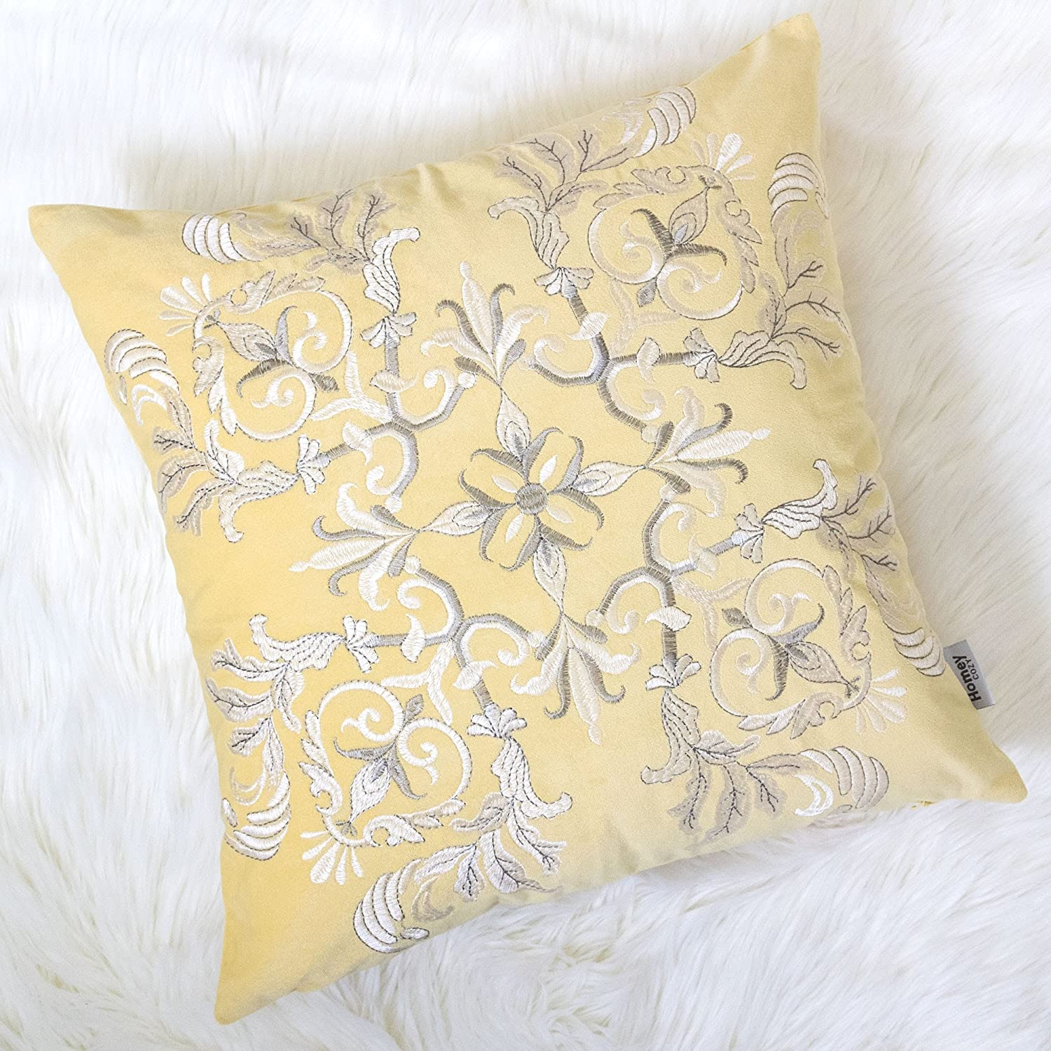 Homey Cozy Applique Yellow Velvet Throw Pillow Cover,Sunshine Series Geometric Knot Bright Spring Tropical Decorative Pillow Case Home Decor 20x20,Cover Only Kingray