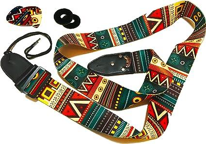 Correa de guitarra vintage de colores – Pack de colgador de ...