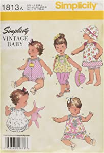 Simplicity 1813 Vintage Fashion Baby's Hat, Underwear, Pants, Top, Romper, and Dress Swing Patterns, Sizes XXS-L
