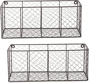 DII Farmhouse Vintage Chicken Wire Wall Basket, Set of 2 Large, Rustic Bronze