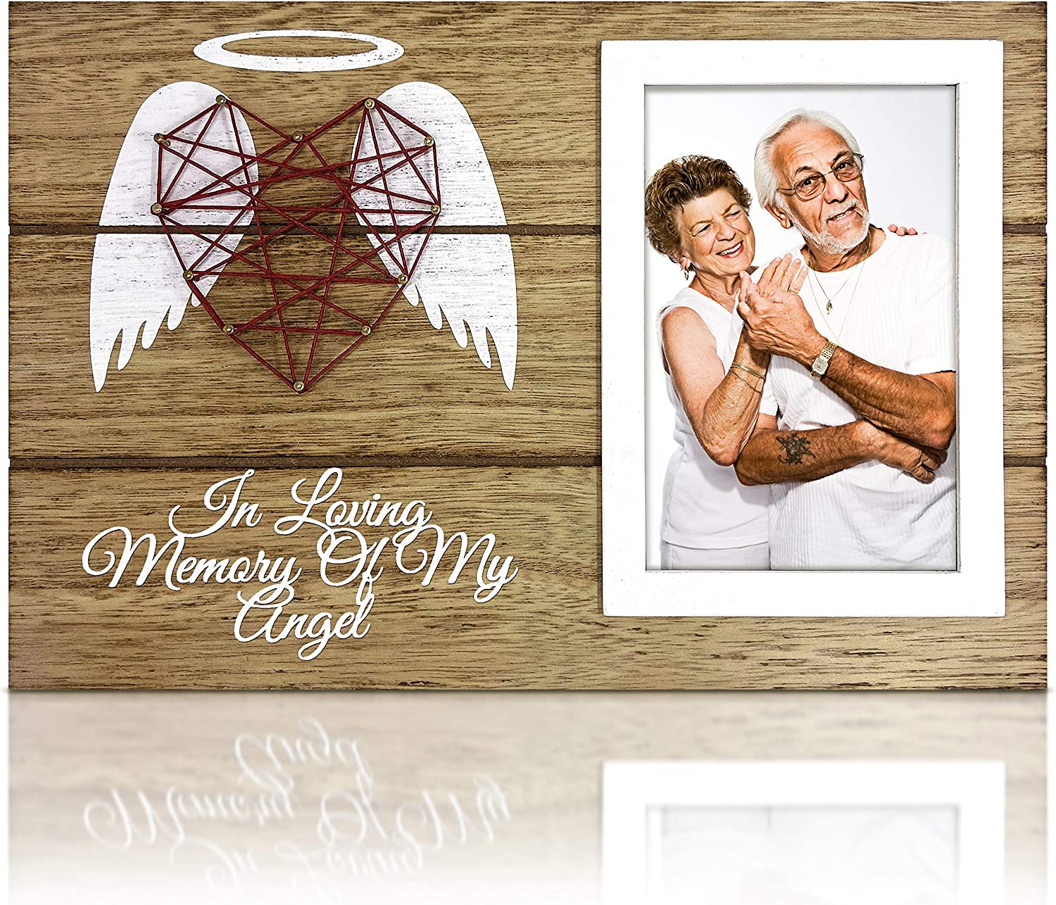 OakiWay Memorial Gifts - Wood Picture Frame Sympathy Gift, 4x6 Photo Frame In Memory of Loved One, with Hand-Woven Heart Shape Guardian Angel - Bereavement Gifts - Remembrance Gifts - Condolence Gifts