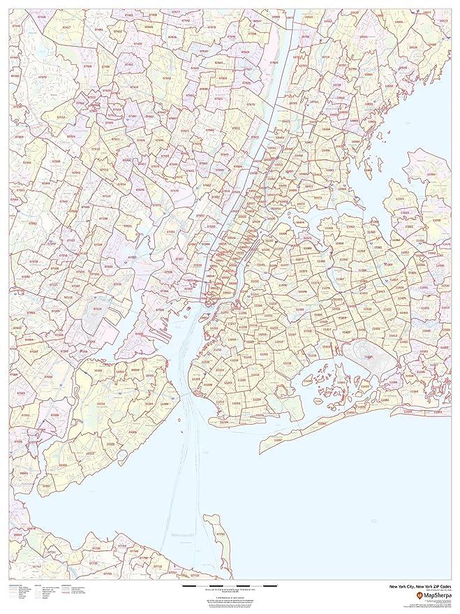 Amazon Com New York City New York Zip Codes 36 X 48 Paper