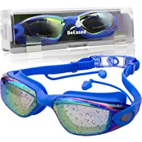 Swim Goggles Anti Fog, Safe UV Protection with Ear Plug Plus Wide Angle Clear View, Custom Strap Size, No Leak Swimming for Adult Men or Women, Triathlon Athletes, Teen, Children, Kids and Family
